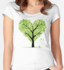 Valentine Tree, Love, Leaf from Hearts Women's Fitted Scoop T-Shirt