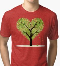 Valentine Tree, Love, Leaf from Hearts Tri-blend T-Shirt
