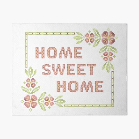 Cross-stitch embroidery Home Sweet Home Art Board Print
