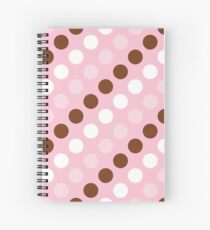 Polka Dots, Spots (Dotted Pattern) - Pink Brown Spiral Notebook