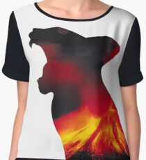 Lava Volcano Cat Type 1 by Troy Young Chiffon Top