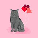 Cat breed grey cats valentines day heart balloons kitty cat gifts by PetFriendly