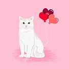Cat breed white cats valentines day heart balloons kitty cat gifts by PetFriendly