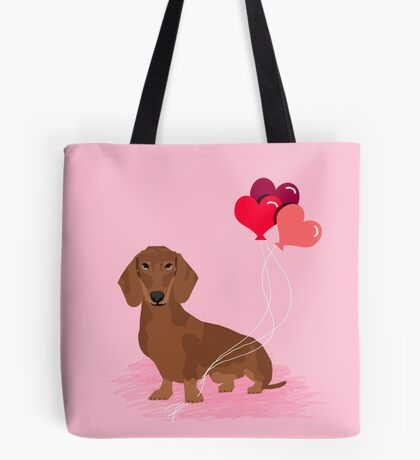 Dachshund dog breed heart balloons valentines day gift for pure breed lovers  Tote Bag