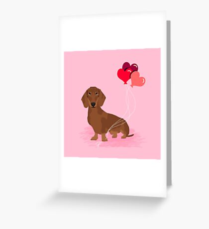 Dachshund dog breed heart balloons valentines day gift for pure breed lovers  Greeting Card