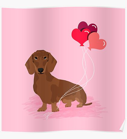 Dachshund dog breed heart balloons valentines day gift for pure breed lovers  Poster