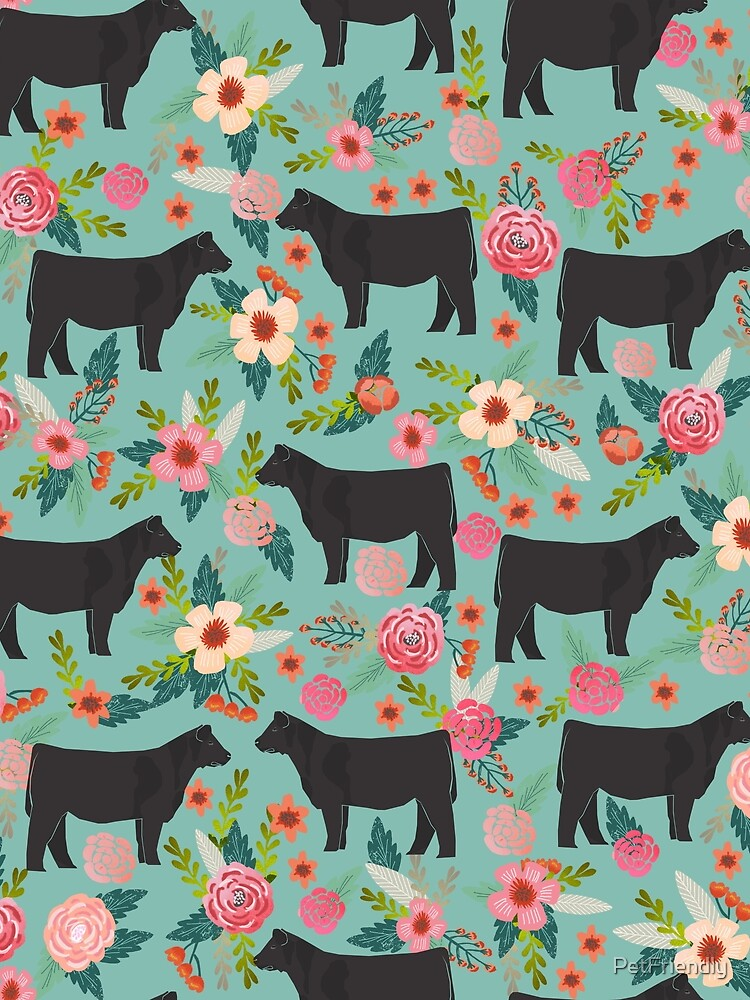 Show Steer cattle breed floral animal cow pattern cows florals farm gifts by PetFriendly