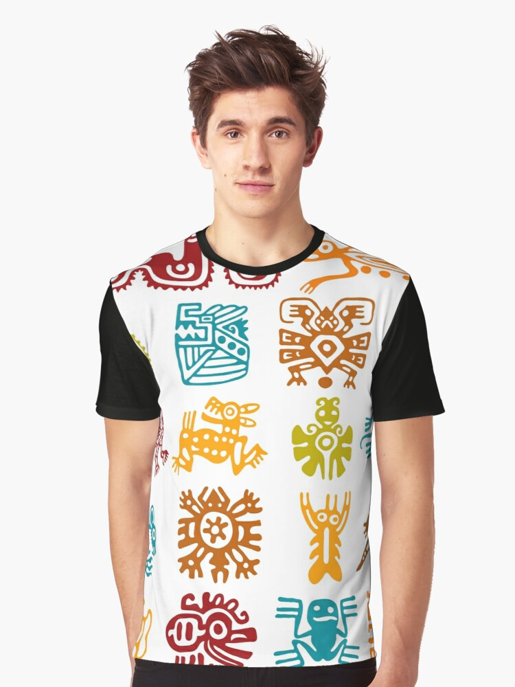 Mexican Aztec Symbols Tri Blend T Shirt By Edleon Redbubble