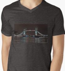Tower Bridge from riverbanks in London Men's V-Neck T-Shirt