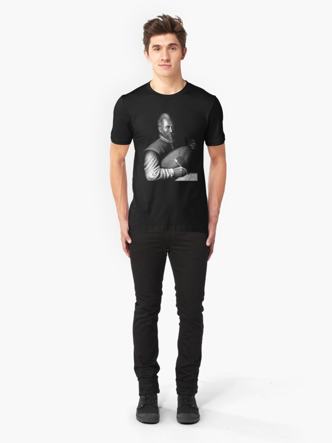 Alternate view of John Dowland with Lute Slim Fit T-Shirt