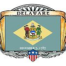 Delaware Art Deco Design with Flag by Cleave