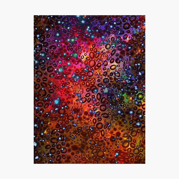 RAINBOW DOTTY OCEAN Colorful Bold Whimsical Polka Dots Galaxy Spots Pink Red Purple Pattern Abstract Watercolor Painting Photographic Print
