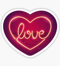Love Heart Neon Sign Sticker