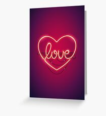 Love Heart Neon Sign Greeting Card