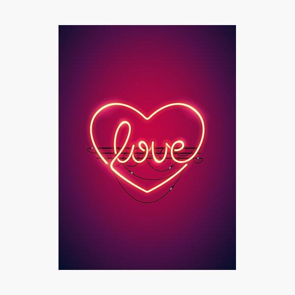 Love Heart Neon Sign Photographic Print
