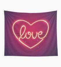 Love Heart Neon Sign Wall Tapestry