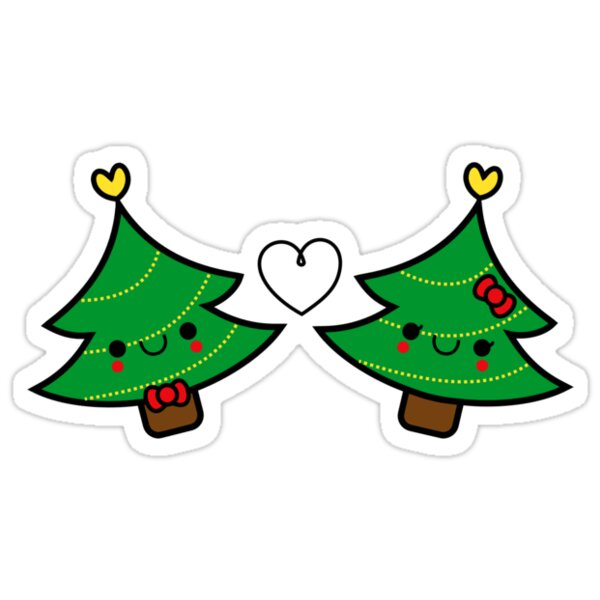 Quot Adorable Kawaii Christmas Tree Couple Quot Stickers By