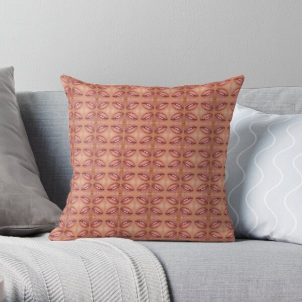 Symmetrical ornament, slightly opened lips Throw Pillow