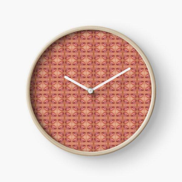 Symmetrical ornament, slightly opened lips Clock
