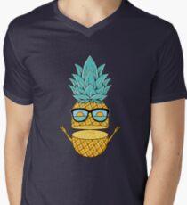 Pineapple Summer Sunglasses Men's V-Neck T-Shirt