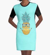 Pineapple Summer Sunglasses Graphic T-Shirt Dress