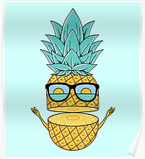 Pineapple Summer Sunglasses Poster