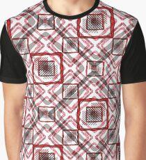 Red - white geometric pattern. Graphic T-Shirt