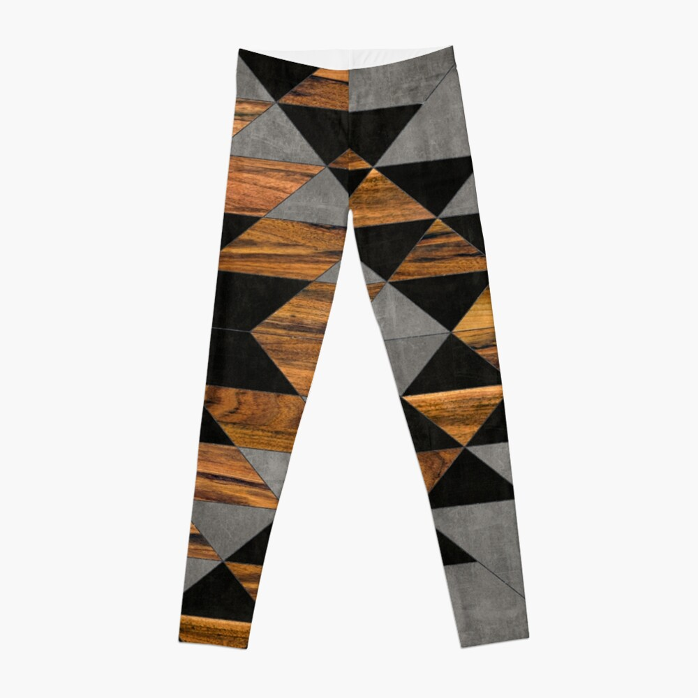 Urban Tribal Pattern 10 - Aztec - Concrete and Wood Leggings