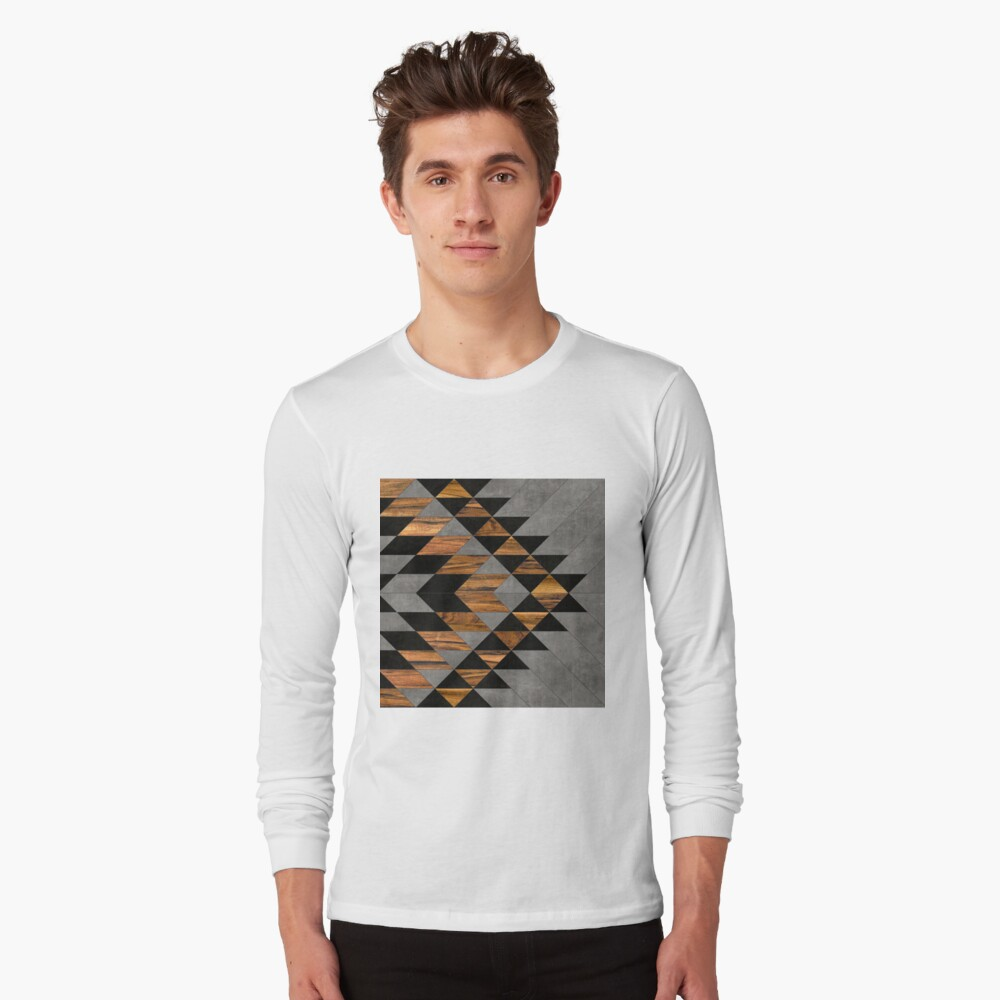 Urban Tribal Pattern 10 - Aztec - Concrete and Wood Long Sleeve T-Shirt