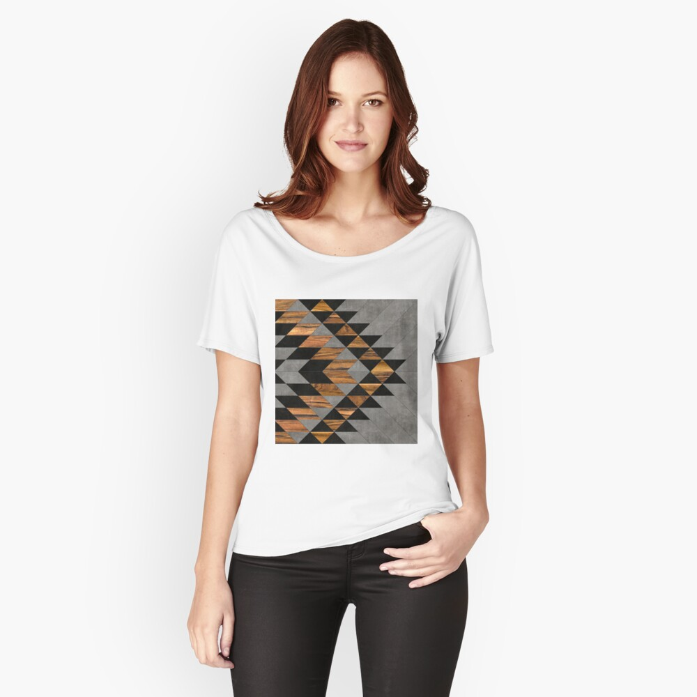 Urban Tribal Pattern 10 - Aztec - Concrete and Wood Relaxed Fit T-Shirt