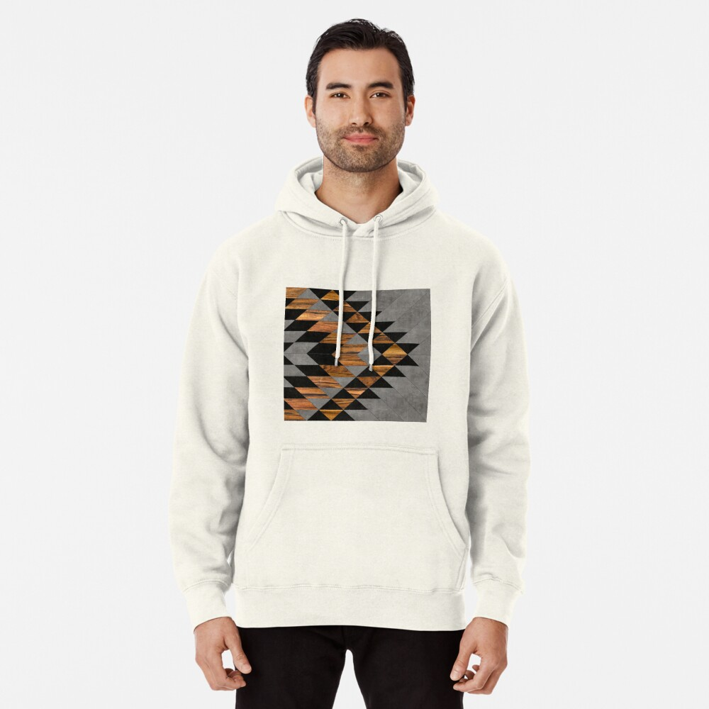 Urban Tribal Pattern 10 - Aztec - Concrete and Wood Pullover Hoodie