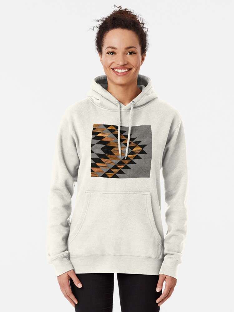 Alternate view of Urban Tribal Pattern 10 - Aztec - Concrete and Wood Pullover Hoodie