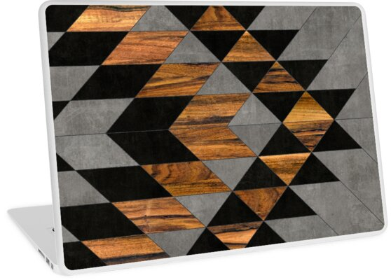 Urban Tribal Pattern 10 - Aztec - Concrete and Wood by Zoltan Ratko