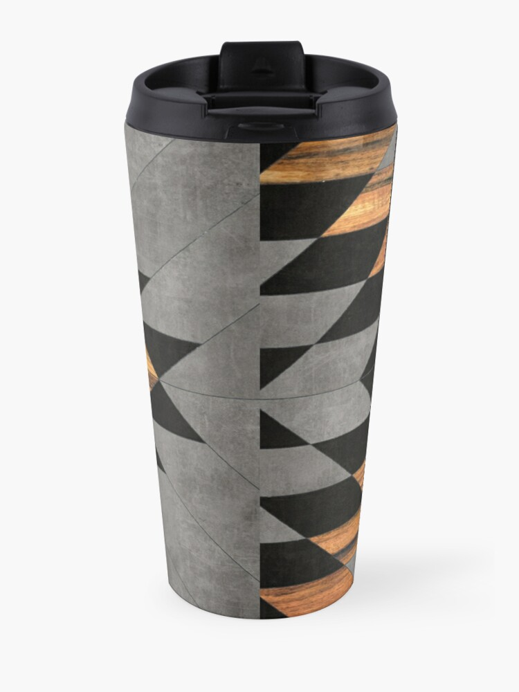 Alternate view of Urban Tribal Pattern 10 - Aztec - Concrete and Wood Travel Mug