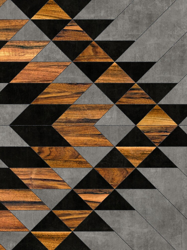 Urban Tribal Pattern 10 - Aztec - Concrete and Wood by ZoltanRatko
