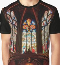 Majestic Auch cathedral interior leaded pane view, France Graphic T-Shirt