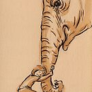 Best Friends - Elephant Watercolor Painting #7 by Rebecca Rees