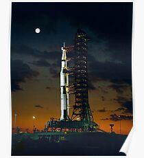APOLLO 4, Saturn V Rakete, für die amerikanischen bemannten Mondlandung Missionen verwendet Poster
