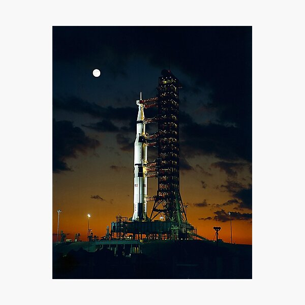 MAN ON THE MOON. APOLLO 4. Saturn V rocket. Used for the American manned lunar landing missions. Photographic Print