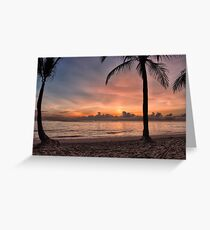 Tropical Hawaii beach at sunset Greeting Card