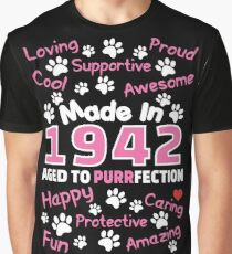 Made In 1942 Aged To Purrfection - Birthday Shirt For Cat Lovers Graphic T-Shirt