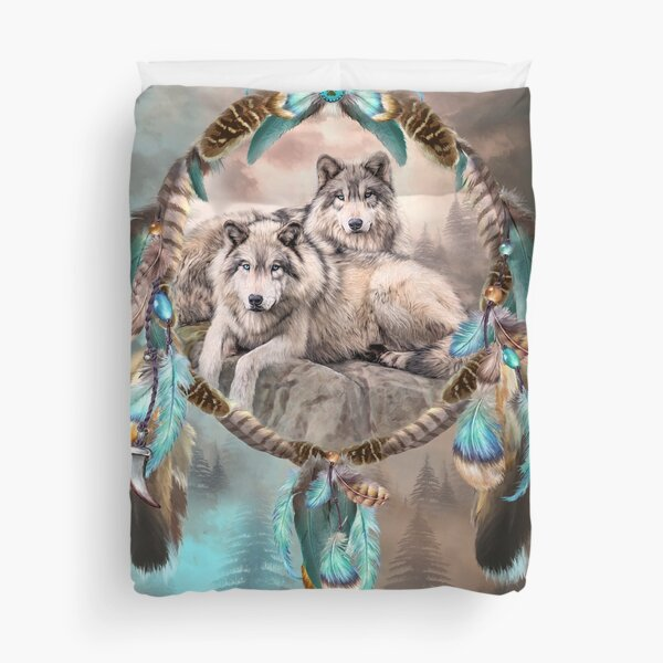 Dream Catcher - Two Wolves Together Duvet Cover