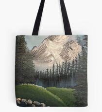 Oil painted Bob Ross inspired colourful landscape Tote Bag