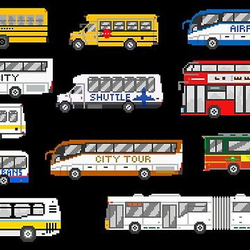 Buses - The Kids' Picture Show - Pixel Art by KidsPictureShow