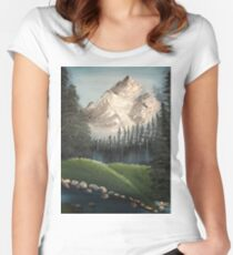 Oil painted Bob Ross inspired colourful landscape Women's Fitted Scoop T-Shirt