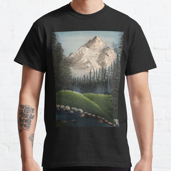 Oil painted Bob Ross inspired colourful landscape Classic T-Shirt