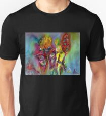 VIBRANT SPARKLING BUTTERFLIES ON  YELLOW THISTLES Pink Blue Floral Unisex T-Shirt