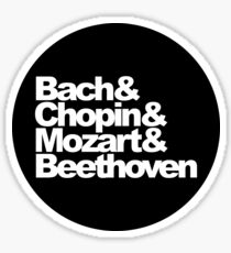 Bach and Chopin and Mozart and Beethoven, circle sticker, black Sticker