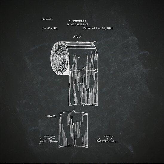 Toilet Paper Vintage Retro Roll Patent Art Blueprint Graphic by DesIndie