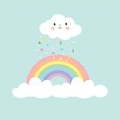 Rainbow Happy Little Cloud Pastel Rain and Sunshine Nursery Art Print Design 2 by DesIndie